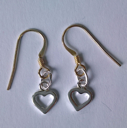 Sterling Silver open heart earrings stamped 925
